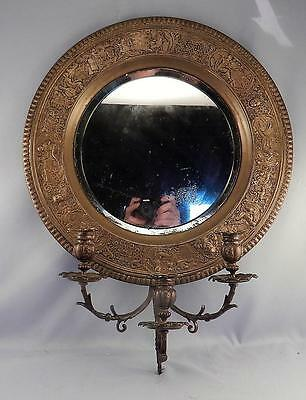 Antique c1870 Victorian Brass or Bronze 3-Light Mirrored Sconce~Neoclassical