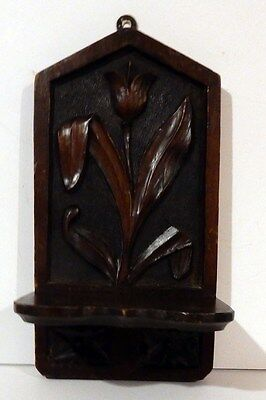 Beautiful Antique English Art Nouveau Floral Motif Hand Carved Walnut Wall Shelf