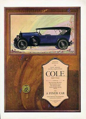 COLE Motor Car Auto Ad 1923 Eight Ninety TOURSTER 4 Door in Deep Blue