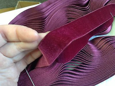 "5 Yards 1"" Raspberry FRENCH Vintage Silk Rayon Satin Back Velvet Ribbon Fabric"