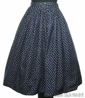 Czech folk costume skirt Bohemian peasant style ethnic dress navy blue vintage