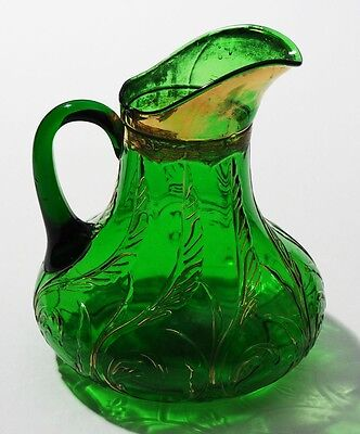 Dugan Glass - WAVING QUILL - Water Pitcher - Emerald Green  with Gold