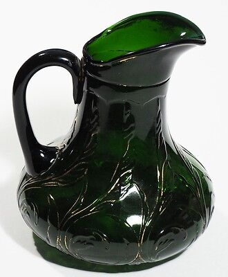 Dugan Glass - WAVING QUILL - Water Pitcher - Very Dark Green  with Gold