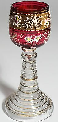 Moser - Wine Goblet - Gold Band with Enameled Flowers