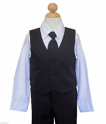 Boys Recital, 4 Piece Vest Suit Set , Black/White , Size: 2T