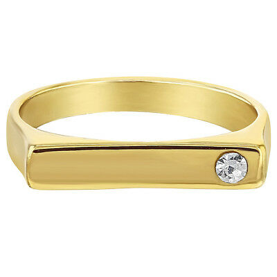 14k Gold Plated Clear Square Little Diva Baby Rings for Girls