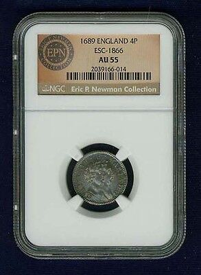 England William & Mary 1689 4 Pence (Groat) Silver Coin Certified By Ngc Au-55