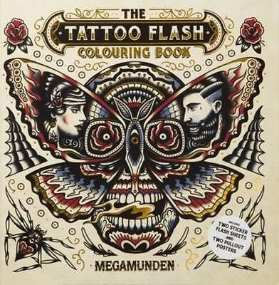 NEW Tattoo Flash Colouring Book By Megamunden Paperback Free Shipping