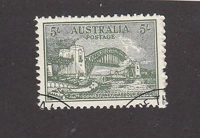 AUSTRALIA # 132 VF-LIGHT USED 5sh SYDNEY BRIDGE FORGERY A GOOD ONE AT THAT