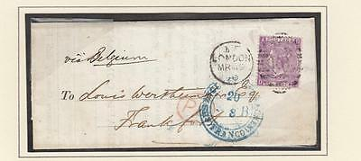 GB # 51a PLATE 8 6d MAUVE ON SUPERB COVER LONDON TO FRANKFURT GERMANY 1870