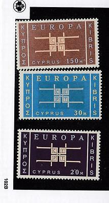 Cyprus # 229-231 Vf-Mnh Europa Issues Cat Value $54.75