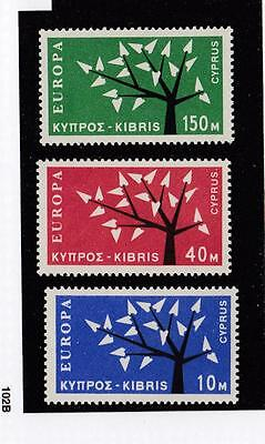 Cyprus # 219-221 Vf-Mnh Europa Issues Trees Cat Value $76.25
