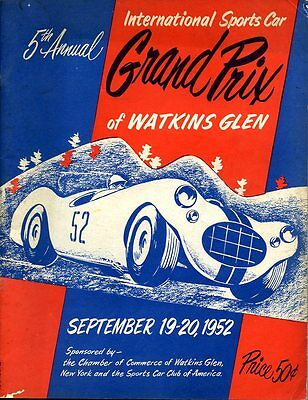 1952 Briggs Cunningham C4-R Wins Watkins Glen GP Race Program Last Thru Town