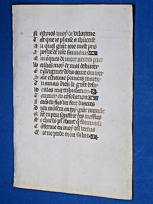 Rare Medieval Manuscript Leaf in French,Book of Hours,Vellum,Decorations,c.1470