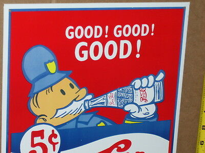 PEPSI-COLA -5c Good ! Good ! Good !- GAS STATION Sign -Pictures Old GLASS BOTTLE