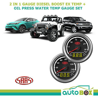 SAAS 2in1 Diesel Turbo Boost Exhaust Temp & Oil Press Water Temp 52mm Gauge Set