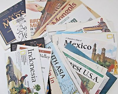 National Geographic Vintage Map Lot Birds USA Canada Europe World Mars