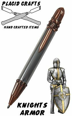 Knights Armor Ballpoint with Raw Aluminum Body & Antique Copper Hardware / #113
