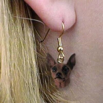 Dangle French Wire MIN PIN RED Dangle Dog Head Earrings