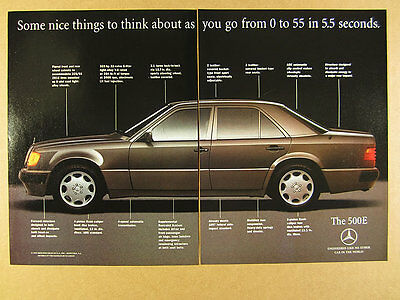 1992 mercedes benz 500e sedan color photo vintage print ad click