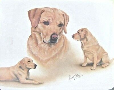 Retired LAB RETRIEVER YELLOW FAMILY Softcover Address Book art by Robert May