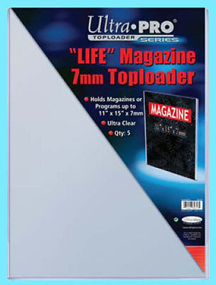 5 ULTRA PRO 11x15 7MM THICK LIFE MAGAZINE TOPLOADERS NEW Collectible Rigid Art