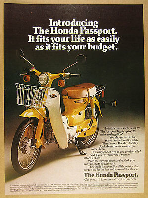 1980 Honda Passport C70 Scooter Moped color photo vintage print Ad