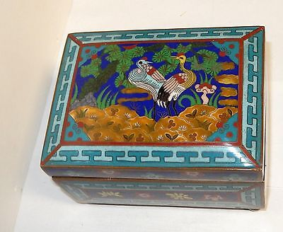 Rare Old 19Th Century Chinese Bronze Cloisonne Bird Enamel Humidor Box