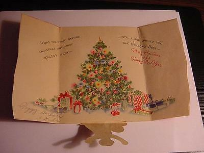 Vintage CHRISTMAS Card: Pop-Up Child+Dog Standing in Front of Christmas Tree