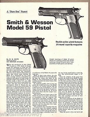 1973 SMITH & WESSON Model 59 Pistol 3-pg Evaluation Article w/ specs