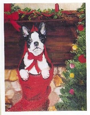 Eight Card Pack BOSTON TERRIER Dog Breed Christmas Cards