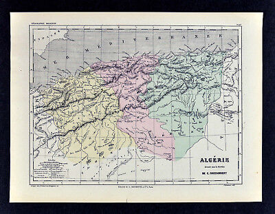 1865 Cortambert Map - Algeria - Alger Oran North Africa - Original Antique Map