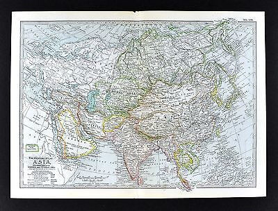 1902 Century Atlas Map Asia India Japan Korea China Siam Siberia Arabia Mongolia