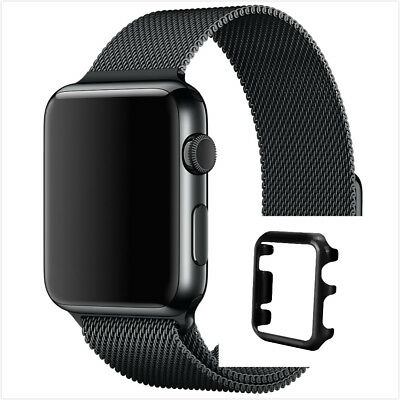 Apple Watch 38mm Black Milanese Black Magnetic Stainless Steel Strap Band Casex1