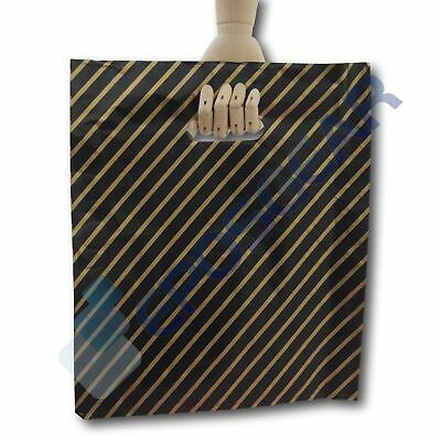 50 Large Black and Gold Striped Gift Shop Boutique Market Plastic Carrier Bags