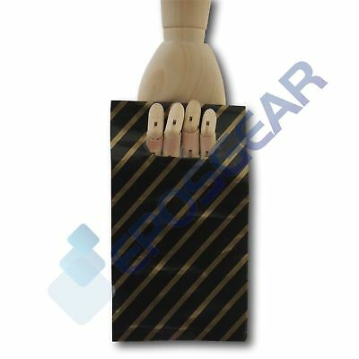 100 Extra Small Black and Gold Striped Gift Shop Boutique Plastic Carrier Bags