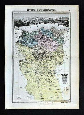 1877 Migeon Map - Constantine Province - French Algeria - Barbary North Africa