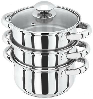 Judge Basics Stainless Steel 16cm Stockpot Pan 3 Piece Vegetable Steamer Set