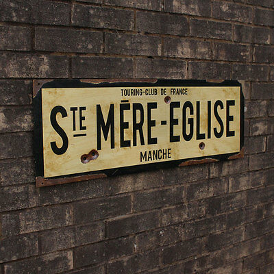 WW2 Ste Mere Eglise Road Sign - Repro French Military Army Vintage Steel New