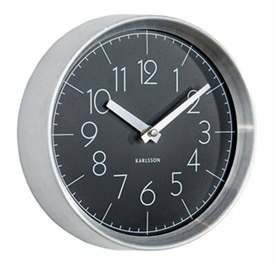 Karlsson CONVEX WALL CLOCK Aluminium Case BLACK Face 22cm diam