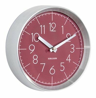 Karlsson CONVEX WALL CLOCK Aluminium Case BURGUNDY RED Face 22cm diam