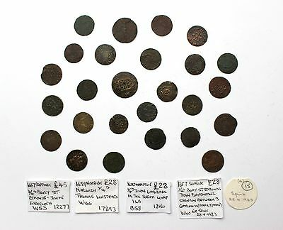 **26 x 17th Century Tokens**