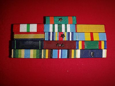 Lot Of 13 US Military Medal Ribbon Bars On Metal Rack With Clutchback Pins