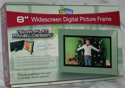 """GiiNii 8"""" Widescreen Flat panel Digital Picture Frame Sealed New in Box"""