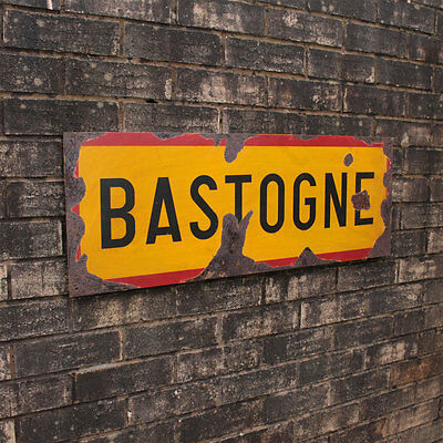WW2 Bastogne Road Sign - Repro Vintage Style Army Military Belgian Steel Wall