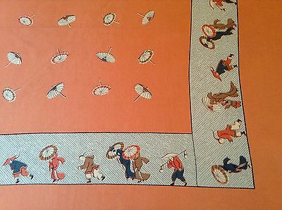 RARE VINTAGE CHINESE THEME SILK SCARF.  VGC.  34 x 33 INCHES.  UNUSUAL!