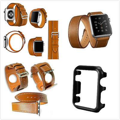 42mm For Apple Brown 4 in 1 Leather Cuff Bracelet Long Watch Band Black Case