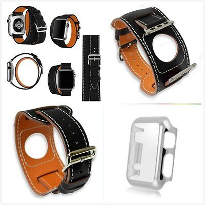 42mm For Apple Black 4 in 1 Leather Cuff Bracelet Watch Band Strap Silver Case
