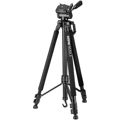 "Sunpak 6630LX 66"" 66 Inch Photo/Video Tripod w/ Adapters for Smartphone & GoPro"