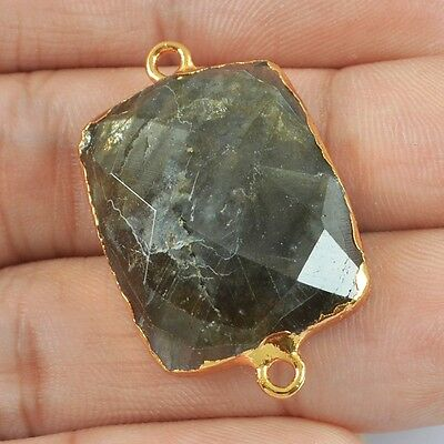 Natural Labradorite Faceted Connector Gold Plated H81858